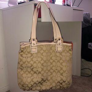Coach handbag tan/pink